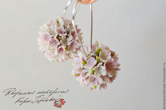 """Серьги ручной работы. Ярмарка Мастеров - ручная работа. Купить Серьги-шары """"Дыхание весны"""". Handmade. Бледно-розовый"""