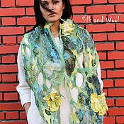 Аксессуары ручной работы. Ярмарка Мастеров - ручная работа ажурный палантин  ЖЕЛТЫЕ ЦВЕТЫ  нуновойлок,  войлочный шарф. Handmade.