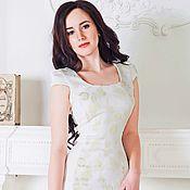 Одежда ручной работы. Ярмарка Мастеров - ручная работа Белое платье с золотой вышивкой и кружевом. Handmade.