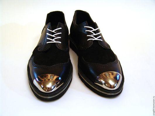 Обувь ручной работы. Ярмарка Мастеров - ручная работа. Купить Мужские ботинки из натуральной кожи и замши. Handmade. Черный