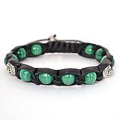 Украшения handmade. Livemaster - original item Shamballa bracelet made of leather with genuine Ural malachite. Handmade.
