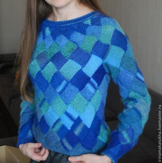 пуловер, пуловер вязаный, пуловер вязаный женский, свитер женский, свитер вязаный, красивый свитер, теплый подарок, теплый пуловер, теплый свитер, голубой свитер, мягкий свитер, из качественной шерсти