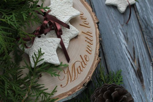 Кухня ручной работы. Ярмарка Мастеров - ручная работа. Купить Спилы с гравировкой , подставки для торта. Handmade. Комбинированный, спил дерева
