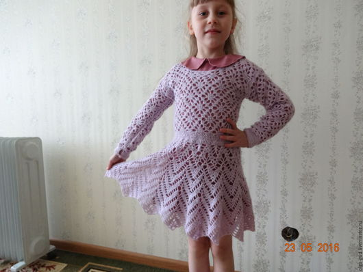 Одежда для девочек, ручной работы. Ярмарка Мастеров - ручная работа. Купить вязанное платье для девочки. Handmade. Розовый, платье крючком