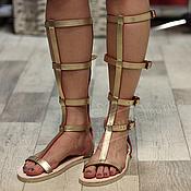 Обувь ручной работы handmade. Livemaster - original item roman sandals leather zipper gold. Handmade.