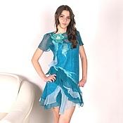 """Одежда ручной работы. Ярмарка Мастеров - ручная работа Валяное платье на шелке """"Я -Волна"""". Handmade."""