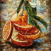 Картины и панно handmade. Livemaster - original item Oil painting Juicy orange. Handmade.
