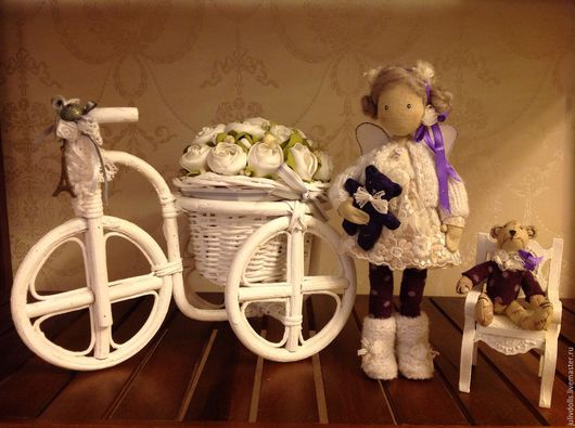 Коллекционные куклы ручной работы. Ярмарка Мастеров - ручная работа. Купить Фея с мишуткой. Handmade. Фиолетовый, интерьерная кукла