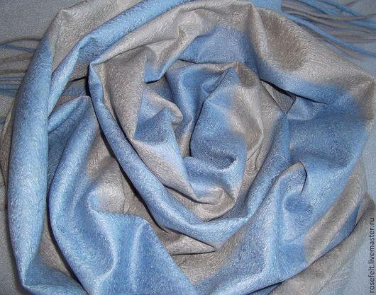 Шарфы и шарфики ручной работы. Ярмарка Мастеров - ручная работа. Купить Шарф валяный на шелке Серо-голубой. Handmade. В полоску