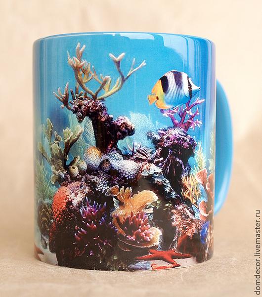 """Кружки и чашки ручной работы. Ярмарка Мастеров - ручная работа. Купить Чашка """"Подводный мир-2"""". Handmade. Синий, рыбки"""