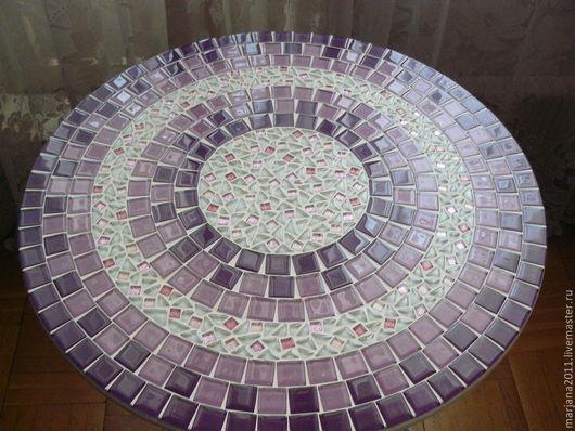 """Мебель ручной работы. Ярмарка Мастеров - ручная работа. Купить Столик кофейный с мозаикой """"Очарование"""". Handmade. Сиреневый, столик для завтрака"""