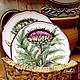 The painted porcelain.Plate ' Botanical prints. Thistle', Plates, Kazan,  Фото №1