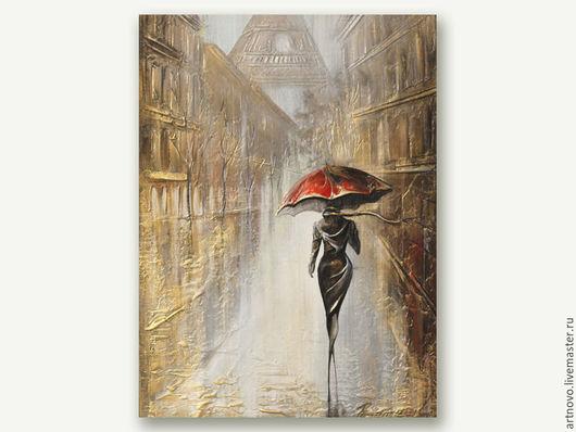 Город ручной работы. Ярмарка Мастеров - ручная работа. Купить Картина Парижанка Картина маслом на холсте  Картины масло. Handmade.