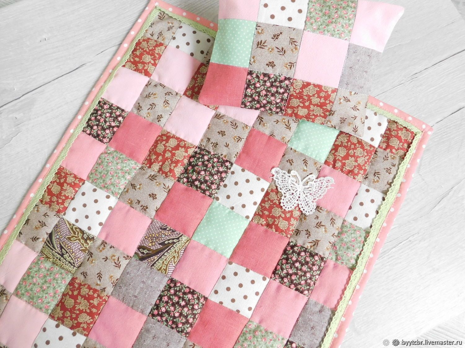 Gift to a girl for a DOLL's CRIB patchwork blanket, Stuffed Toys, Moscow,  Фото №1