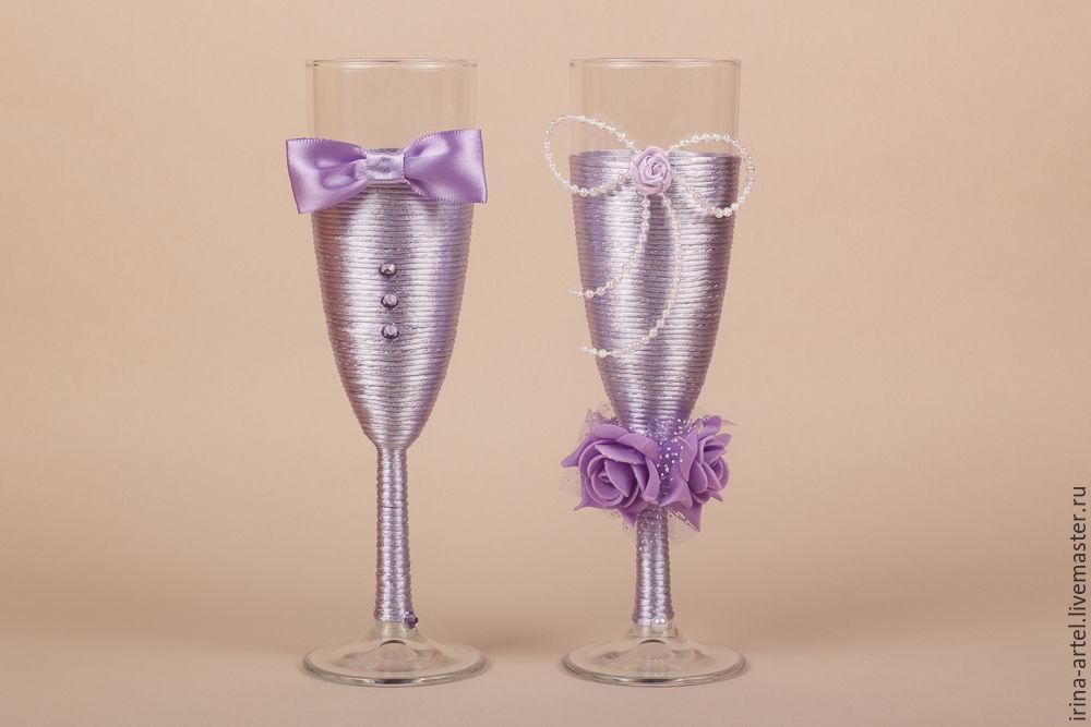 Как сделать свадебные бокалы с лентами своими руками