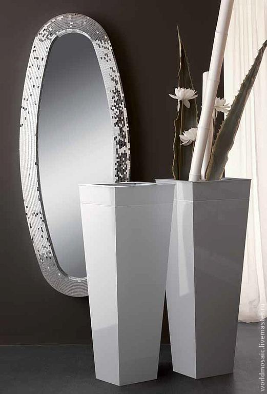 Зеркала ручной работы. Ярмарка Мастеров - ручная работа. Купить Зеркало в мозаичной раме, серебряный овал. Handmade. Серебряный, овал