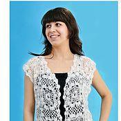 Одежда handmade. Livemaster - original item 19 - the vest is downy,white ,crocheted, clothing. Handmade.