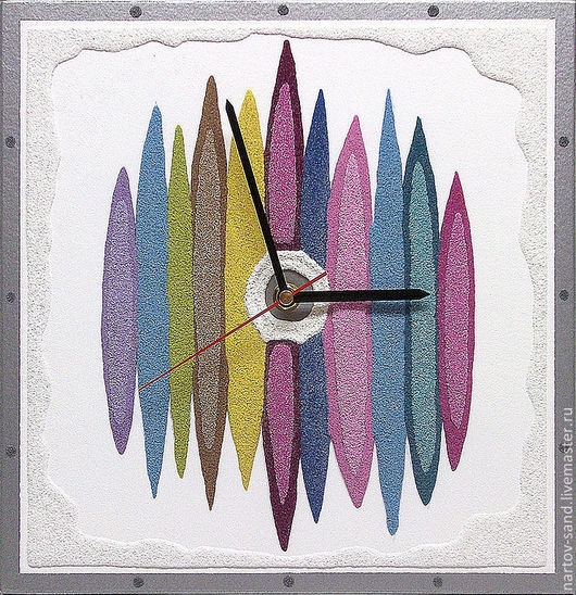 """Часы для дома ручной работы. Ярмарка Мастеров - ручная работа. Купить """"МУЗЫКА ЦВЕТА"""" из песка авторские часы. Handmade. Песок"""
