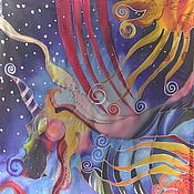 """Аксессуары ручной работы. Ярмарка Мастеров - ручная работа Шелковый платок батик """"Похищение Европы драконом"""". Handmade."""