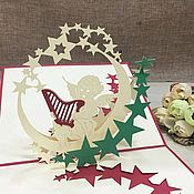 handmade. Livemaster - original item Angel with harp Happy birthday! - 3D handmade greeting card. Handmade.