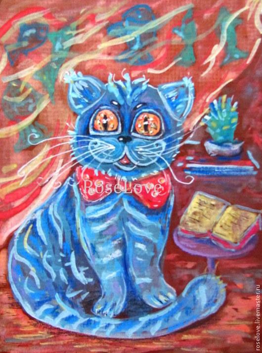 Картина для детской «Котик Барсик»))Катерины Аксеновой.Акварель,пастель,кошки,кот,котик.