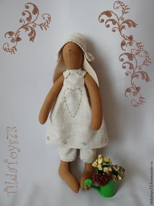 Куклы Тильды ручной работы. Ярмарка Мастеров - ручная работа. Купить Летний кролик-цветовод. Handmade. Коричневый, тильда кролик