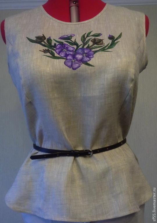 Блузки ручной работы. Ярмарка Мастеров - ручная работа. Купить Блуза, топ  'Лен' из натурального льна. Handmade. Батик, роспись
