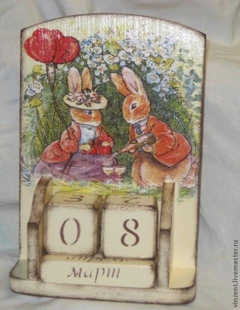 """Календари ручной работы. Ярмарка Мастеров - ручная работа. Купить Календарь """"Зайка моя"""". Handmade. Бежевый, подарок на любой случай"""