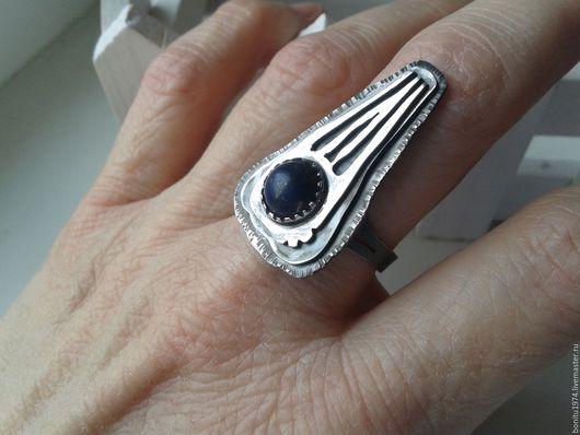 """Кольца ручной работы. Ярмарка Мастеров - ручная работа. Купить Кольцо серебряное  """"Странные ощущения"""". Handmade. Тёмно-синий"""
