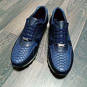 Обувь ручной работы handmade. Livemaster - original item Sneakers made of Python leather and genuine leather, dark blue color.. Handmade.