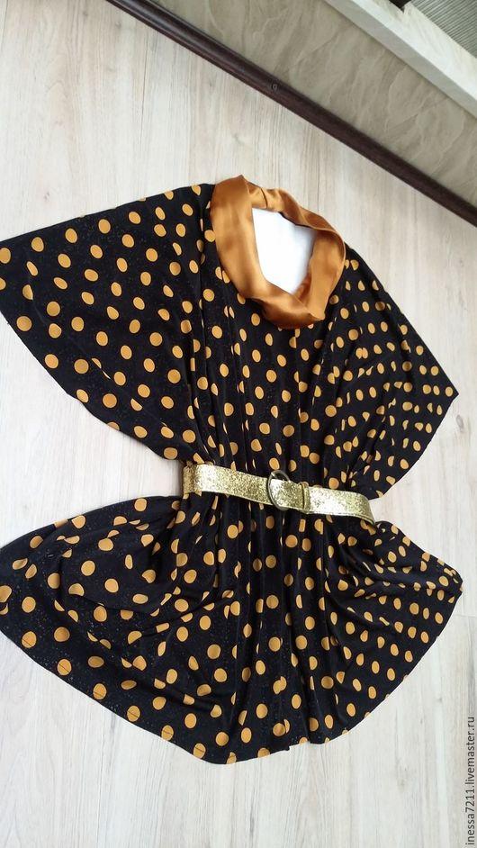 """Большие размеры ручной работы. Ярмарка Мастеров - ручная работа. Купить Блуза """"Монетки"""". Handmade. В горошек, черный цвет"""