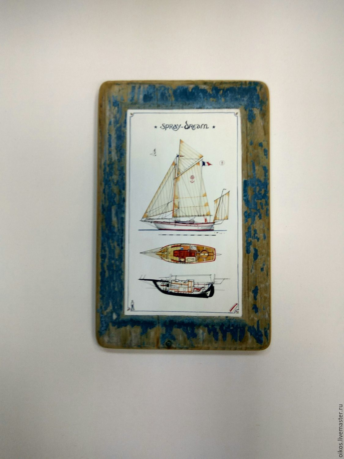 Painting a mural with the boat on the old Board gift for man General sailor, Pictures, St. Petersburg,  Фото №1