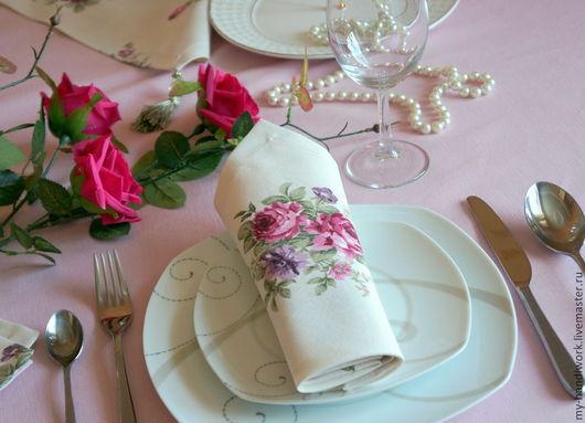 """Кухня ручной работы. Ярмарка Мастеров - ручная работа. Купить Салфетки   """"Французская мечта"""". Handmade. Бледно-розовый, прихватки для кухни"""
