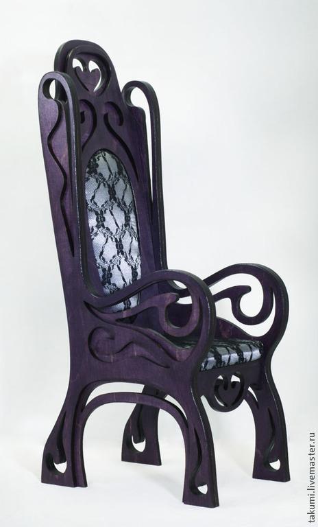 Кукольный дом ручной работы. Ярмарка Мастеров - ручная работа. Купить Кресло с высокой спинкой (модель 05). Handmade. Фиолетовый