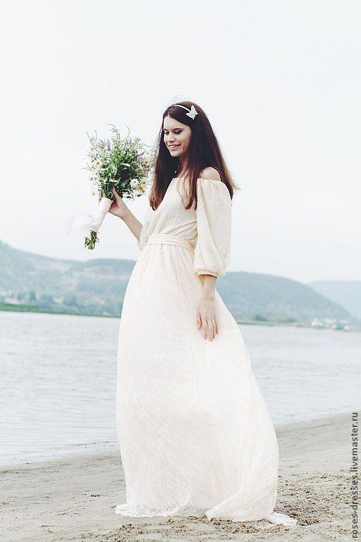 """Платья ручной работы. Ярмарка Мастеров - ручная работа. Купить Платье """"Honey"""". Handmade. Бежевый, свадебное платье длинное, цветы"""