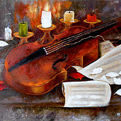 Картины и панно handmade. Livemaster - original item Violin still life painting oil on canvas original artwork. Handmade.