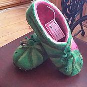 """Обувь ручной работы. Ярмарка Мастеров - ручная работа тапочки валяные домашние """"Арбузные"""". Handmade."""