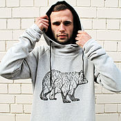 Мужская одежда handmade. Livemaster - original item Sweatshirt with bear. Handmade.