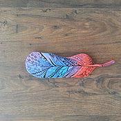 Для дома и интерьера ручной работы. Ярмарка Мастеров - ручная работа Деревянное перо в технике зентангл. Handmade.