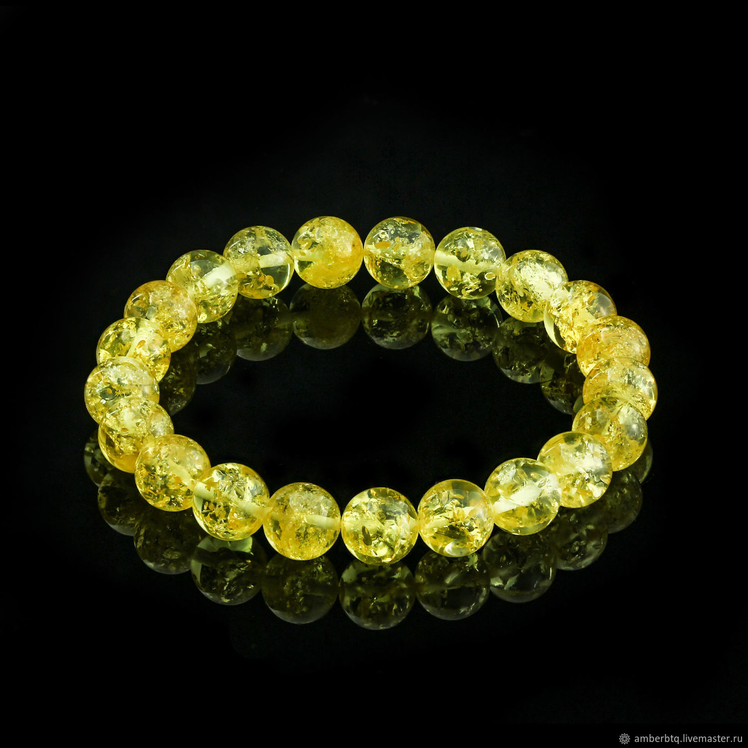 Amber bracelet 20 cm lemon husk (10 mm) with elastic band, Bead bracelet, Kaliningrad,  Фото №1
