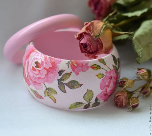 """Браслеты ручной работы. Ярмарка Мастеров - ручная работа. Купить Широкий браслет  """"Розовый ветер"""". Handmade. Браслет, подарок"""