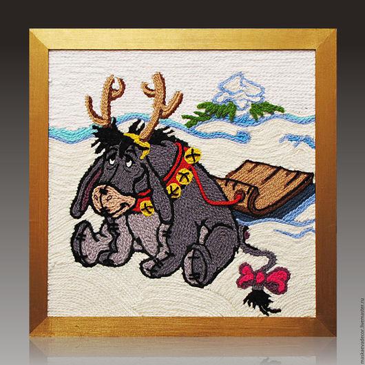 Животные ручной работы. Ярмарка Мастеров - ручная работа. Купить Картина вязанная из пряжи Праздничный ослик с санями 40 х 40 см. Handmade.