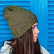 Аксессуары ручной работы. Ярмарка Мастеров - ручная работа Зелёная шапка Хаки. Handmade.