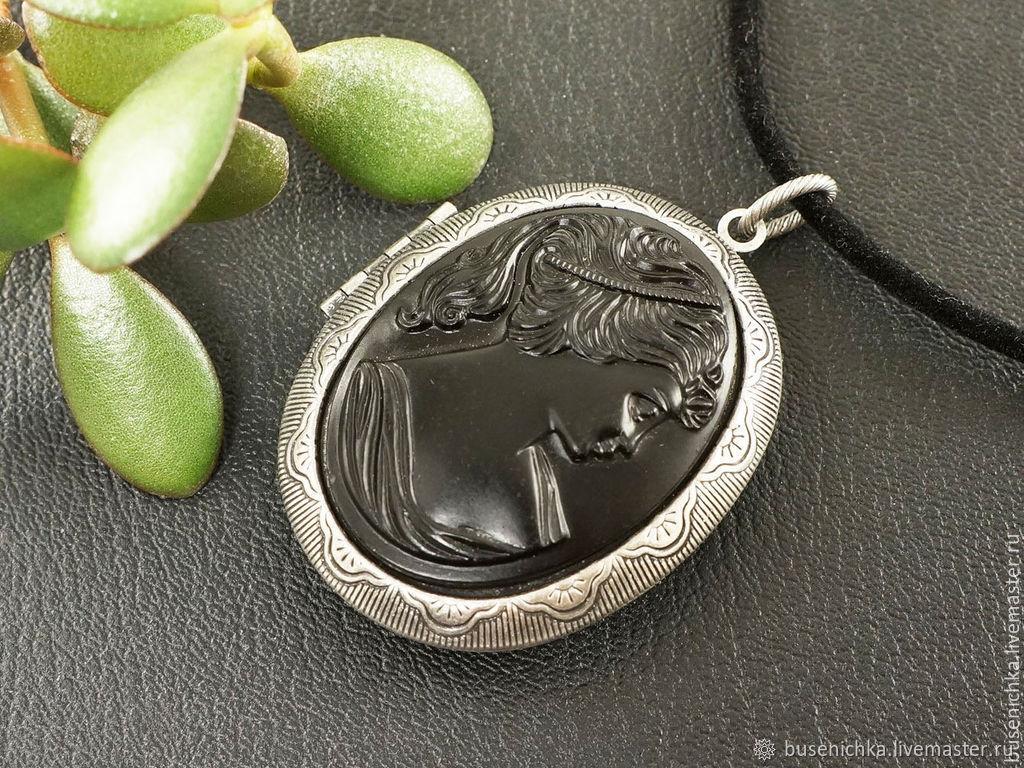Камея-Медальон Дама Черная из стекла (30х40мм), Подвеска, Москва,  Фото №1
