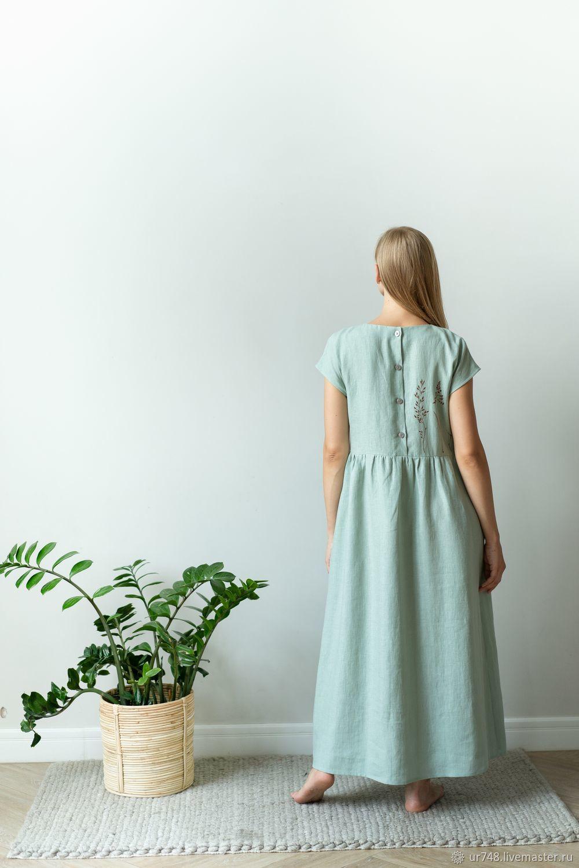 Платье зеленое лён с принтом ручной работы, Платья, Златоуст,  Фото №1
