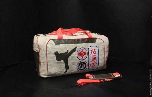 Спортивные сумки ручной работы. Ярмарка Мастеров - ручная работа. Купить Мужская сумка спортивная Большая сумка на плечо Каратэ Подарок мужчине. Handmade.