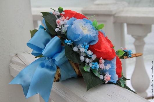 """Подарки на свадьбу ручной работы. Ярмарка Мастеров - ручная работа. Купить Букет из конфет """"Королевская особа"""" зонтик из конфет свадьба голубой. Handmade."""