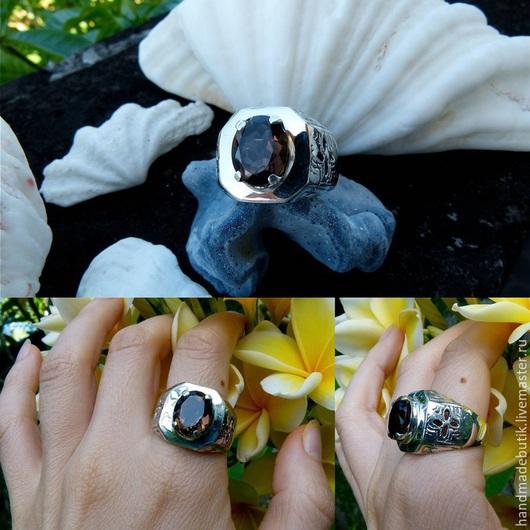 Кольца ручной работы. Ярмарка Мастеров - ручная работа. Купить Перстень мужской с аметистом, гранатом и раухтопазом из серебра 925. Handmade.