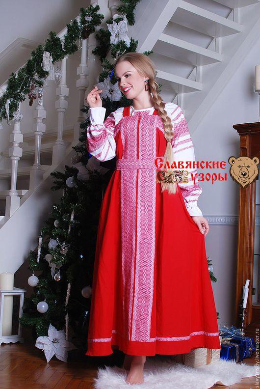 Этническая одежда ручной работы. Ярмарка Мастеров - ручная работа. Купить Сарафан косоклинный красный. Handmade. Орнамент, сарафан в пол