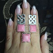 Украшения ручной работы. Ярмарка Мастеров - ручная работа Комплект с розовым кораллом в серебре 925. Handmade.